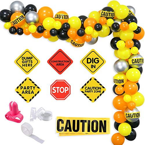 K KUMEED Construction Balloon Garland kit, Orange Black Yellow Balloons, Construction Signs, Caution tape for Quarantine Construction Birthday Party Decorations