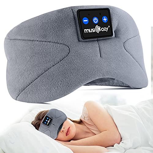 Bluetooth Schlafmaske,WU-MINGLU Schlaf Kopfhörer Augenmaske Drahtlose Musik Stirnband Kopfhörer für Flugzeug Schlafen Reisen Entspannung