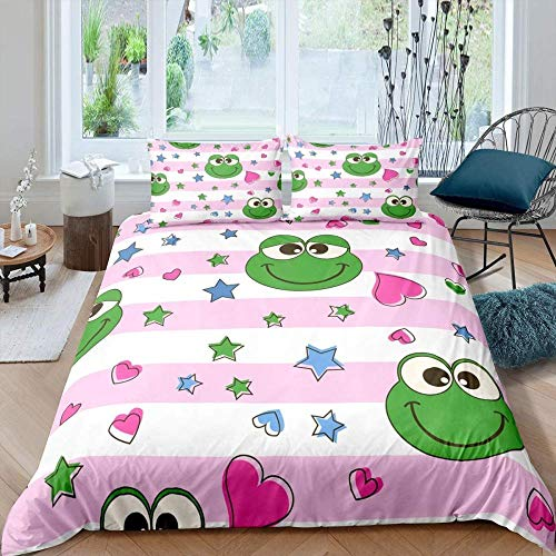 Svvsovs 3D Printing Bedding Set Double Soft Comfortable Duvet Cover Pillowcase Set Bed Linens Bedclothes Twin Full Queen King Size 3 Pieces - 200 X 200 Cm Frog Animal Stars Red And White Stripes - W