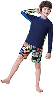 Boys Swimsuits Rash Guard Bathing Suit Long Sleeve Swim Sets 2 Piece Swimsuits for Boys Size 5-14 Years