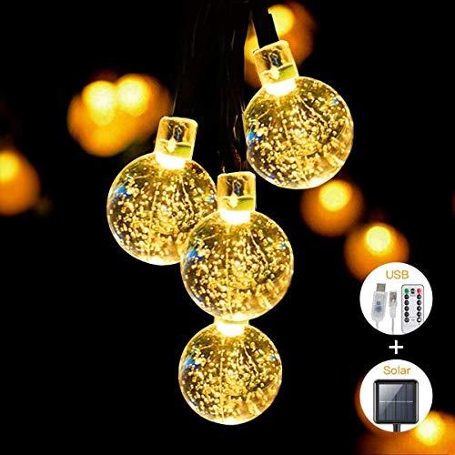 SITRI stringa di luce/stringa di luce solare/luce solare da esterno/luce da favola, alimentatore solare/USB, adatto per giardini, cortili, case, alberi di Natale, feste, 7,5 m 50 luci.