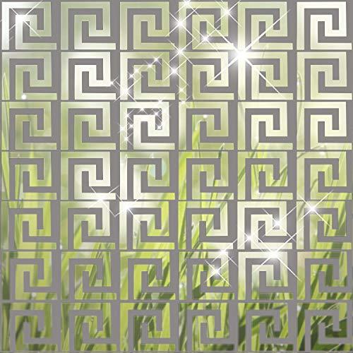 Abnehmbare Acrylspiegel Einstellung Wandaufkleber Aufkleber für Wohnzimmer Wohnzimmer Schlafzimmer Dekor Geometrischer Griechischer Schlüssel, 24 Stück