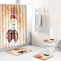 とてもかわいい!雪だるま、クリスマス浴室用バスカーテン+バスマット+トイレふたカバー+マットラグ、カーテン4枚セットシャワーデコレーション180×180センチメートル orange-45*75cm