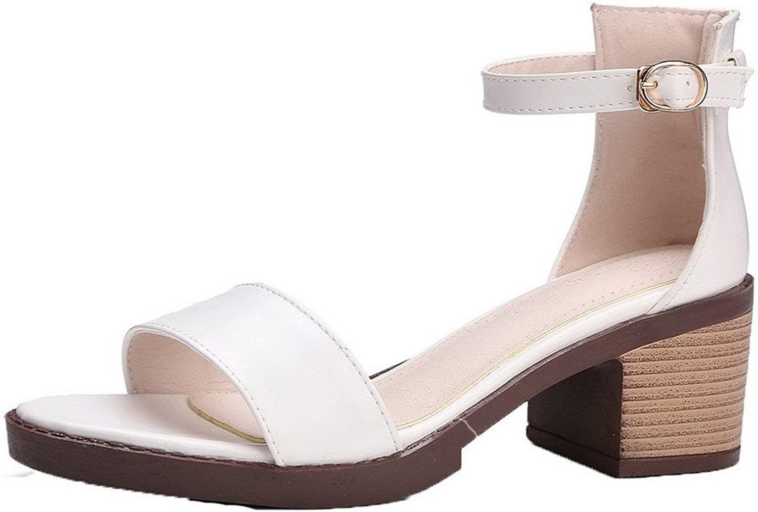 WeenFashion Women's Buckle Open Toe Kitten-Heels PU Solid Sandals, White, 33