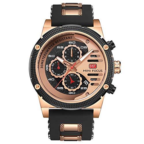 JTTM Relojes para Hombres, Analógico De Cuarzo Reloj Impermeable Deportivo Cronógrafo Correa De Cuero Fecha para Regalo,Rose Black