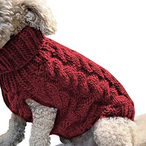 DERCLIVE Abbigliamento per Cani Moda Dolcevita Maglia Maglione Maglieria Outwear Nero Rosso Rosa Pelle