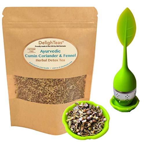 Ayurvedic Detox Cumin, Coriander and Fennel Tea with Infuser - Organic Detox Tea - Supports weight management and enhances nutrient absorption (CCF tea with Infuser, 1.5 oz.)