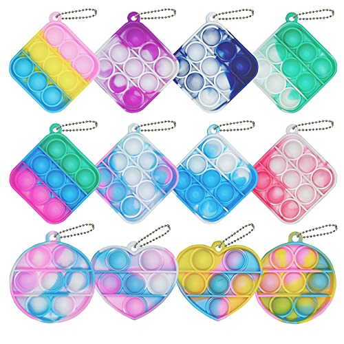 Clanam 12 Pcs Mini Squeeze Pop Bubble Fidget Sensory Toys, Mini Keychain Silicone Bubble Wrap Cheap Mini Pop Bulk Toy Relieve Anxiety Stress Office Desk Toy for Kids Adult