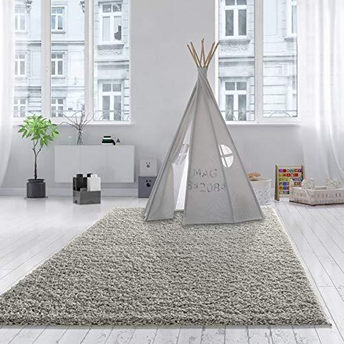 Teppich Wölkchen Shaggy-Teppich | Flauschige Hochflor Teppiche für Wohnzimmer Küche Flur Schlafzimmer oder Kinderzimmer | Einfarbig, schadstoffgeprüft, allergikergeeignet (Grau, 80 x 150 cm)