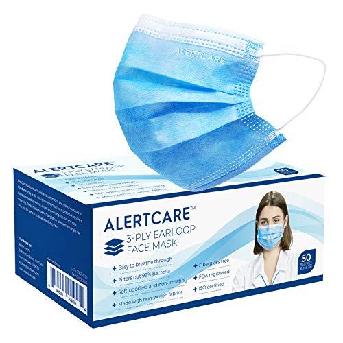ALERTCARE 3-Layer Disposable Face Shield, 50 Counts