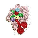 Agarradera rosa en forma de sombrero de ganchillo - Tamaño: 12.5 cm x 18 cm H - Handmade - ITALY