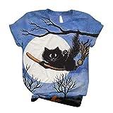 Dasongff Camiseta de manga corta para mujer 3D, con estampado de tire, para verano, informal, cuello redondo, diseño de gato, girasol, jirafa, perro, vaca