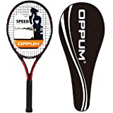 OPPUM Adult Carbon Fiber Tennis Racket, Super Light Weight Tennis Racquets Shock-Proof and Throw-Proof,Include Tennis Bag Tennis Overgrip (T200 -(Black Red), 4 1/4)