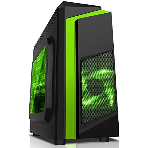 CiT, Carcasa de computadora F3 Midi para Gaming, con Ventilador de 12cm con luz LED Verde, Color Negro Multicolor Verde