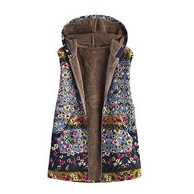 Women's Sleeveless Vest Zip Hooded Thickening Composite Plush Vintage Print Oversize Coat Waistcoat