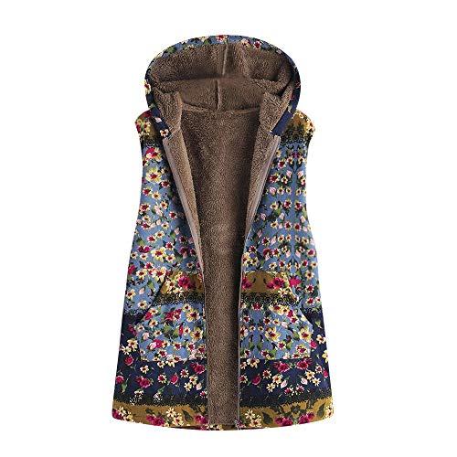 iHENGH Damen Herbst Winter Bequem Lässig Mode Frauen Winter Warm Outwear Blumendruck Mit Kapuze Taschen Vintage Übergröße Mantel Weste(Blau, 3XL)