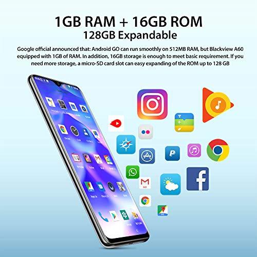 Blackview A60 Smartphone ohne Vertrag Günstig 15,49 cm (6,1 Zoll) HD+ Display 4080mAh Akku, 13MP+5MP Dual Kamera, 16GB ROM, 128 GB erweiterbar Dual SIM Android Einsteiger Handy - Schwarz - 6