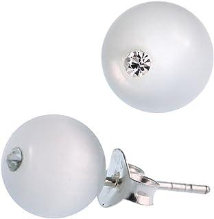 Occhi di gatto studs bianco cristallo levigato brillare 925 Sterling Silver abbaglianti 5 mm