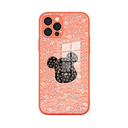 Adecuado para Apple iPhone12 caso de teléfono de cristal pro max todo incluido lindo mascota cubierta protectora naranja 1_iPhone 12