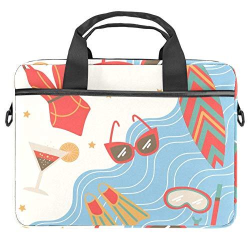 LORVIES Summertime Bikini Zonnebril Zeilboot Eiland Zee Symbolen Laptop Tas Schouder Messenger Tas Zakelijke Mouw Draaghandvat Tas voor 14 naar 15.4 inch Laptop Notebook
