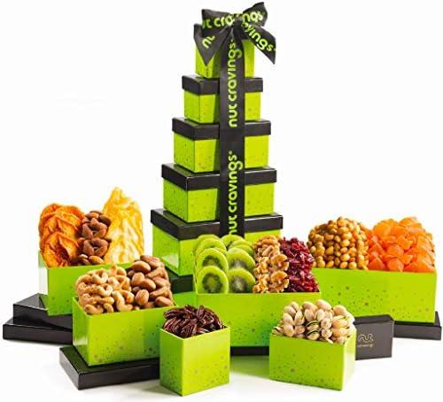 Gourmet Dried Fruit Nut Gift Basket Green Tower 12 Mix Valentine Food Arrangement Platter Care product image