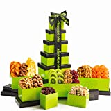Gourmet Dried Fruit & Nut Gift Basket, Green Tower (12 Mix) - Easter Food Arrangement Platter, Care Package Variety, Prime Birthday Assortment, Healthy Kosher Snack Box for Women, Men, Adults