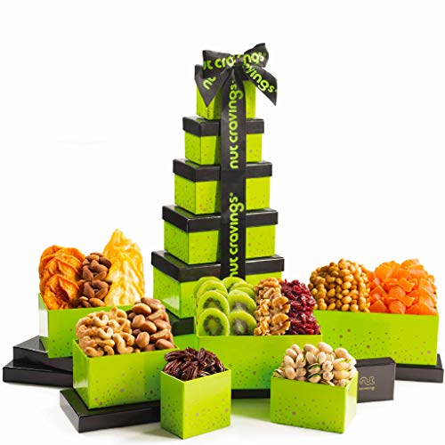Dried Fruit & Nut Gift Basket, Green Tower + Ribbon (12 Piece Assortment) - Rosh Hashanah Arrangement Platter, Care Package Variety, Healthy Food Kosher Snack Box for Families, Women, Men, Adults