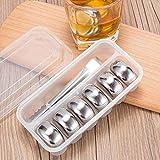 Patrón de acero inoxidable en el pecho whisky cubos de hielo Bar Vodka Wiskey de cerveza del vino más fresco de las rocas Coolers Titular de Herramientas en caja Chiller, 4 PC Cube, 6 piezas de pecho