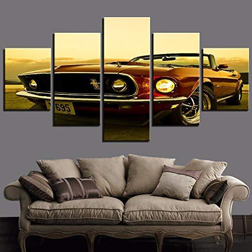 ZMUUA DIY 5D Diamant Malerei Wandkunst gedruckt Auto 5 Stück 1969 Ford Mustang Strass Bilder Wohnkultur Wohnzimmer Runde Diamant