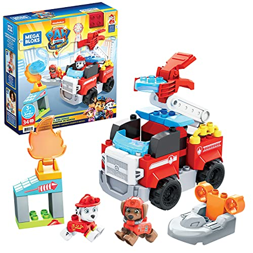 Mega Bloks - PAW Patrol Camion dei Pompieri di Marshall con Lanciatore, Luci, Scaletta Mobile e Scafo di Salvataggio, 33 Mini Blocchi da Costruzione,