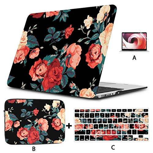 Mac Case Cartoon Floral Beautiful Rose For Lady Macbook Air 13 Case Hard Shell Mac Air 11'/13' Pro 13'/15'/16' With Notebook Sleeve Bag For Macbook 2008-2020 Version