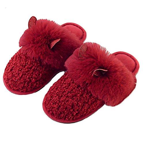 Miya Pantuflas para mujer, pantuflas de fieltro, pantuflas de felpa, suaves y antideslizantes, zapatillas de invierno, cálidas y bonitas, color gris/rojo/rosa, color Rojo, talla 38/39 EU