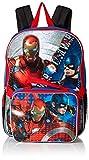 Marvel Boys' Civil War Captain Vs. Ironman Backpack with Lunch Kit, Blue/black