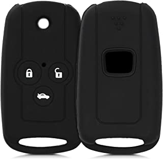 kwmobile Autoschlüssel Hülle kompatibel mit Honda 3 Tasten Autoschlüssel Klapp   Silikon Schutzhülle Schlüsselhülle Cover in Schwarz
