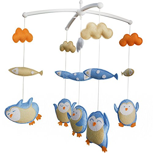 Musical Baby Crib Mobile Handmade Baby Bed Musical Mobile Toy Christmas Gift Happy Penguin