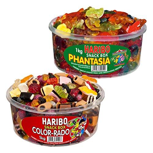 Haribo Classics Runddosen 2er Set, Color-Rado, Phantasia, Fantasia, Gummibärchen, Weingummi, Fruchtgummi, 2 x 1000g Dose