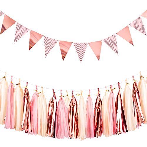 Whaline Triangle Flags Bunting Paper Pennant Banner 12Pcs and Tissue Paper Tassels Garland 15 Pcs for Wedding Birthday Baby Shower Party Rose Gold Decoration