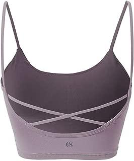 SYLOZ Vest Sports Bra, Thin Shoulder Strap Yoga Sports Underwear for Fitness Running Yoga Dance (Color : Purple, Size : XS)