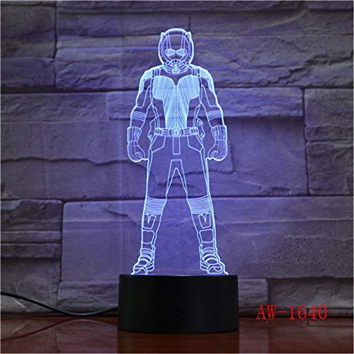 Luce notturna a LED Ant-Man Movie Supereroe Hero Lustre 7 Cambia colore Lampada da tavolo 3D da scrivania USB Bambino Capretto Ragazzo Capodanno Regalo per bambini Decorazione domestica 1640