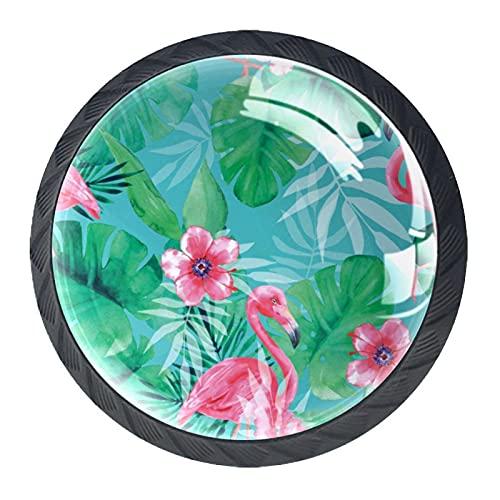 (4 piezas) pomos de cajón para cajones, tiradores de cristal para gabinete con tornillos para armario, hogar, oficina, armario, color rosa flamenco 35 mm