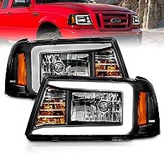 AmeriLite for 2001-2011 Ford Ranger LED Tube Black Replacement Headlights w/Corner Lamp Set - Passenger and Driver Side
