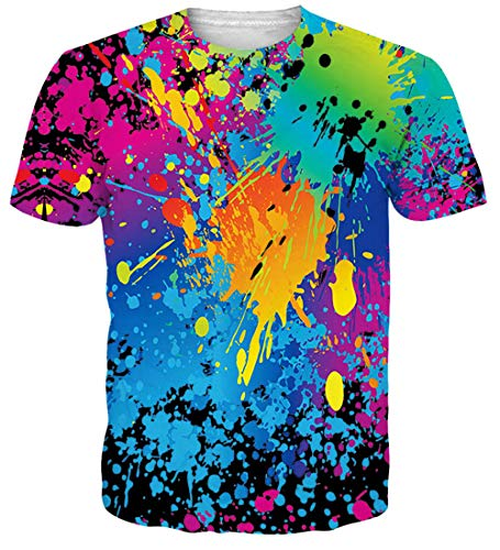 Men's 3D Printed Rainbow Watercolor Paint Short Sleeve T-Shirt XL