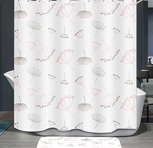 Ommda Duschvorhang Textil Wasserdicht Duschvorhang Anti-schimmel Pflanzen Digitaldruck Waschbar mit 12 Duschvorhang Ring 80x200cm(Keine Matten) Löwenzahn