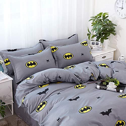 Kinder-Bettwäsche-Set mit grauem Fledermaus-Motiv, Bettbezug mit 1 Kissenbezügen, Cartoon-Bettwäsche für Kinder und Jungen (Einzelbett 135 x 200 cm)