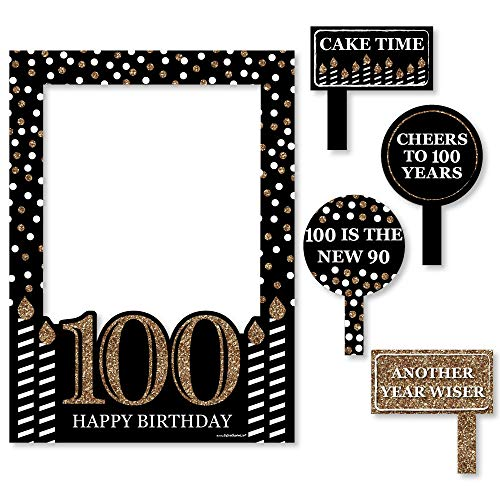 Big Dot of Happiness Adult 100th Birthday - Gold - Birthday Party Selfie Photo Booth Picture Frame & Props - Printed on Sturdy Material