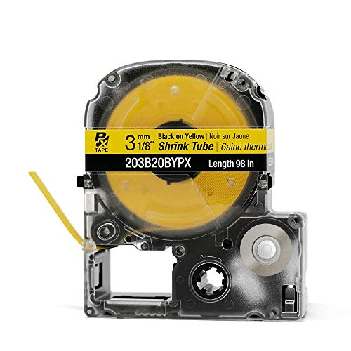 """LABELWORKS 203B20BYPX Tape Cartridge - Black on Yellow Shrink Tube Industrial Label Maker Tape - AWG 14-22, 1/8"""" (3MM) Wide, 8 ft (98"""")"""