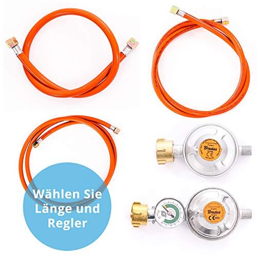 Gasschlauch Set bestehend aus Gasdruckregler 50 mbar und flexiblem Gasschlauch 150 cm - ideal für Gasgrills, Heizstrahler, Hockerkocher, Gaskocher, Lampen, uvm.
