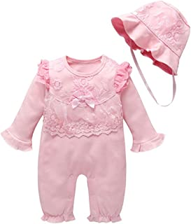 Weixinbuy Baby Girl's Romper Long Sleeve Sleepwear Lace Round Collar Pink Bodysuit Pyjama with Hat Clothes Set
