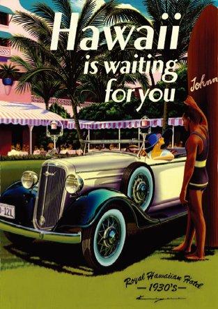 ハワイアン雑貨 インテリア/キャンバス パネル絵(Hawaii Is Waiting For You)【ハワイ雑貨】【お土産】