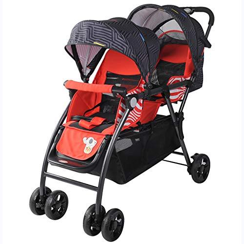 Passeggino Gemellare Gemellare può Sedere su Un Carrello A Quattro Ruote Reclinabile Passeggino Doppio Gemello per Carrozzina Leggera per Bambini,Rosso